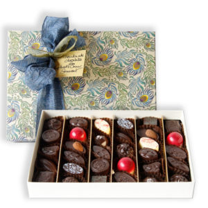 Extra large box of chocolates with peacock paper