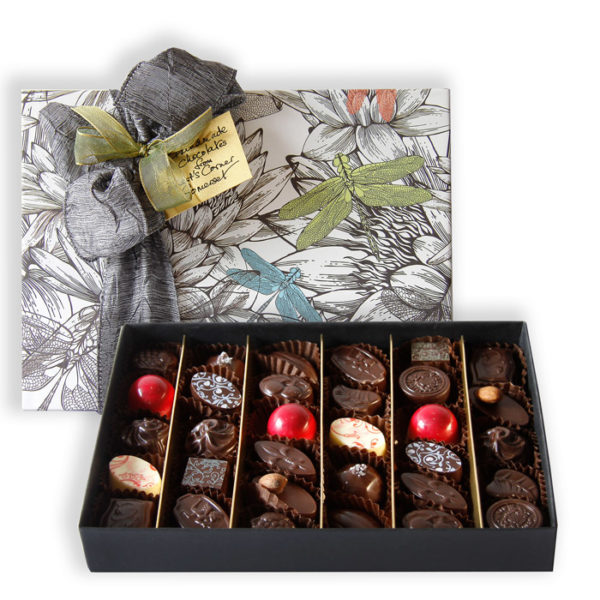 Extra large box of chocolates with Dragonfly paper